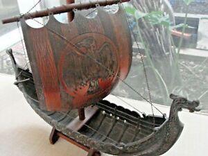 Edward Aargaard Viking Ship Iron Art Copenhagen Denmark Metal Wood Stand MG