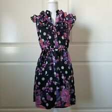 Susie Rose Ruffle Front Dress Size Small Black Pink Floral Polka Dot