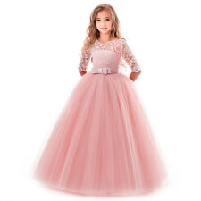 Kid Girls Princess Lace Tutu Dress Wedding Pageant Communion Formal Party Gown