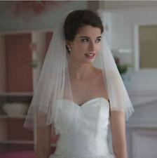 2T White/Ivory Elegant Short Veil Bridal Cut Edge Veils Wedding Veil With Comb