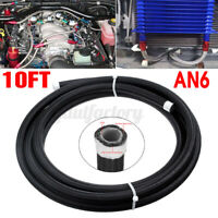AN6 10FT Car Fuel Hose Oil Gas Line PTFE Nylon Stainless Steel  Braided Black