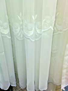 """SALE ELSA EMBROIDERED VOILE 42"""" DROP  WAS £4.00 A METRE NOW ONLY £2.00"""