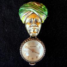 Brooch Bucherer Swiss Skeleton Watch Antique Sterling Silver Enameled Blackamoor
