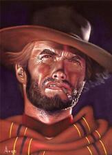 Clint Eastwood badass cowboy black velvet oil painting handpainted signed art