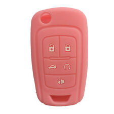 Pink 5 Buttons Protective Silicone Key Fob Cover Holder Case fit for Buick