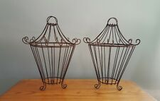 Pair of Vintage Mid Century Hanging Plant Holder Planters Wire Baskets Pagoda