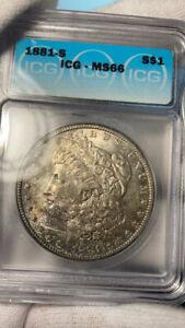 1881S Morgan silver dollar ICG MS 66 neat toning