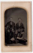 1860's TINTYPE photo MUSICIANS Rotary Valve Cornet Alto horn Clarinet Piccolo