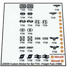 Precut Custom Replacement Stickers voor Lego Set 7735 - Freight Train (1985)
