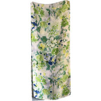 "64"" Oblong Blue Green White Sheer Floral Feminine Spring Chic Scarf Roses"