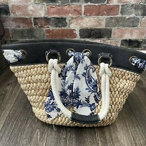 Tommy Bahama Tahiti Weave Beach Tote Bag Tan Navy Leather Handcrafted