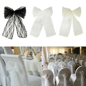 Lace Chair Bows Sashes BLACK WHITE IVORY Event Wedding Banquet Party Decor