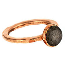 Handmade 24k Rose Gold Plated Pyrite Hammered Stackable Ring Sizes 6,9 Pink Gold