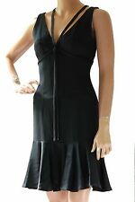 MOSCHINO Cheap & Chic Little Black Crepe Dress with Satin Ruffle Hem Size 6