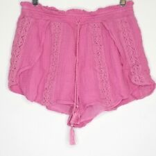American Eagle Pink Crochet High Waisted Short Shorts Medium Cotton Boho Chic