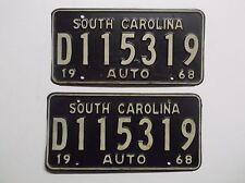 1968 '68 SOUTH CAROLINA Dealers LICENSE PLATE Matching Set Auto Tag MAN CAVE