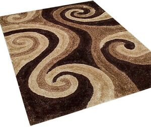 "5x7 Area Rug 3D Carpet Shag Shaggy Swirl Home Decor Mat (4'11""x6'11"")"