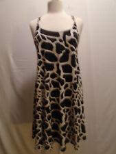 CACHE WOMEN'S BLACK & WHITE ANIMAL PRINT SLEEVELESS T BACK CHAIN DRESS  SIZE 2