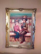 TWO BOYS  WITH PUPPET         A. GUERLAIN            OIL PAINTING