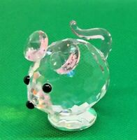 """Crystal Clear MOUSE (H:2"""" x L: 2"""" x W: 1.5"""") Paperweight Collectible"""