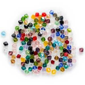 50pcs Mixed Bicone Faceted Crystal Glass loose spacer Beads Jewelry Making 6mm
