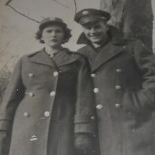 VINTAGE ARMY & W.A.A.C WOMEN'S ARMY AUXILIARY CORP COUPLE SNAPSHOT CA 1940'S