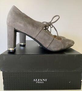 Women's Gray Suede Shoes Sz 6.5 Alfani PRIMA Bindii Steel Heels Lace Up
