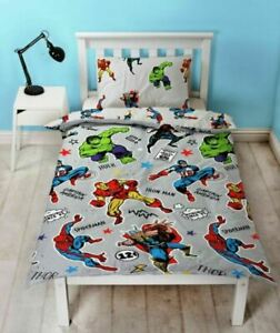 "Marvel Avengers ""Comic"" Duvet Cover Reversible SINGLE Bedding Set FREE DELIVERY"