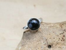 Adjustable Minimalist Snowflake Obsidian Ring. Handmade Virgo Reiki jewellery