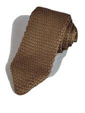 Manzini Neckwear Solid Knit Men's Necktie Skinny Knitted Wedding Mocha Neck Tie