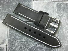 24mm New COW LEATHER STRAP Watch Band Pam 1950  Buckle Black White Stitch