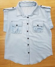 Ladies CASUAL Short Sleeve Shirt BLOUSE Buttons SIZE 10 12 Polyester & Cotton