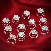 12 Bright Crystal Flower Pearl Spiral Hair Clips Hairpins For Wedding Prom