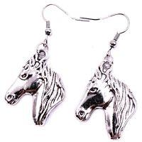 Pferd Pferdekopf Ross Stute Wallach Ohrringe Ohrschmuck Anhänger Silber Metall
