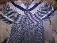 Vtg Baby Smily Girls Gingham  Smocked Dress Sz 52 Blue&White Plaid