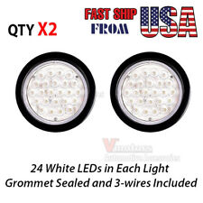 2X 4 Inch Round 24-LED Truck Trailer Tail Light Reverse Backup Lamp Clear White