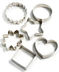 Martha Stewart Cookie Cutters Mold Baking Tools Stainless Steel Heart Star 6 Pcs