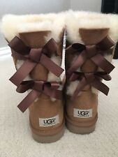 UGG Bailey Bow II Chestnut Suede Mid Calf Boots Women's US Shoe Size 8