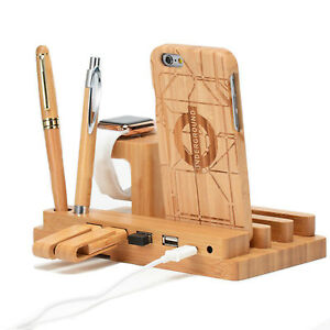 Bamboo 4 Port USB Cable Charging Dock Station Stand Holder 4 Phone Tablet Watch