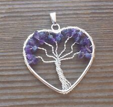 HEART STYLE AMETHYST TREE OF LIFE WIRE WRAPPED PENDANT STONE GEMSTONE