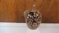 """APPLE Art Glass PAPERWEIGHT With Black with Gold Swirl Apple Center 5""""T"""