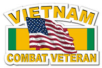 "Vietnam Combat Veteran with Flag 5.5"" Window Sticker Decal 'Free Shipping'"