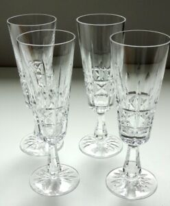 4 VINTAGE WATERFORD CRYSTAL KYLEMORE CHAMPAGNE FLUTES ~ MADE IN IRELAND