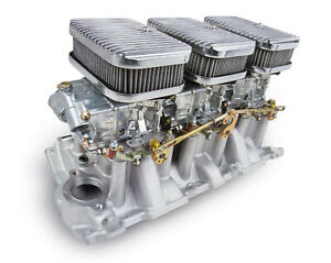 Holley 300-522 Small Block Chevy 6 Pack Carb & Intake Kit Shiny Carbs