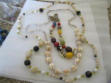 "LOT 3 LONG SUMMER Necklaces 1 SHELL 32"", 1 MULTI 30"", 1 BEADED 40"""