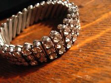 Rhinestone Stretch Bracelet - Vintage 1960's Silver Watch Band British Hong Kong