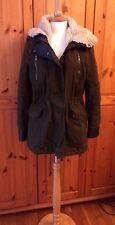 BERSHKA size M hooded khaki PARKA detachable faux sheepskin lining ~ RRP was £76