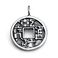 Lucky Chinese Feng Shui Coin Charm Pendant #925 Sterling Silver #Azaggi P0046S
