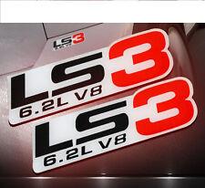 2 GM CHEVY CHEVROLET LS3 6.2L V8 ENGINE EMBLEMS BADGE CHROME SILVER RED PAIR