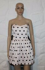 Light Pink With Black Spots & Tie CHARLOTTE THORSTVED Party Bubble Dress Size S
